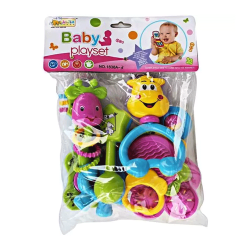BABY RATTLE PLAYSET 1838A-3 7 PCS - BABY RATTLE FULL COLOR